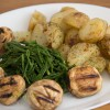 Samphire with potatoes and mushrooms