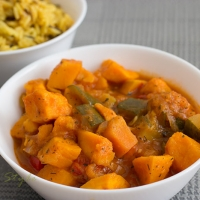 Sweet potato curry with wild rice