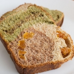 Matcha and cocoa fruit loaf