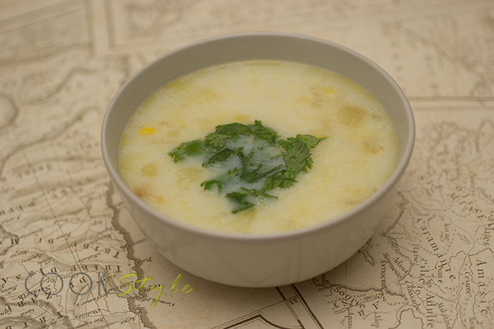 Corn Chowder, american recipe of a traditional dish.