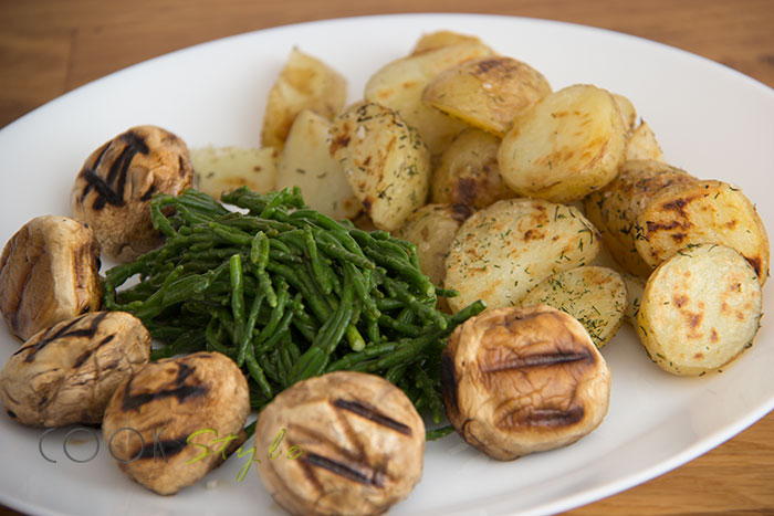 01 Samphire with potatoes and mushrooms