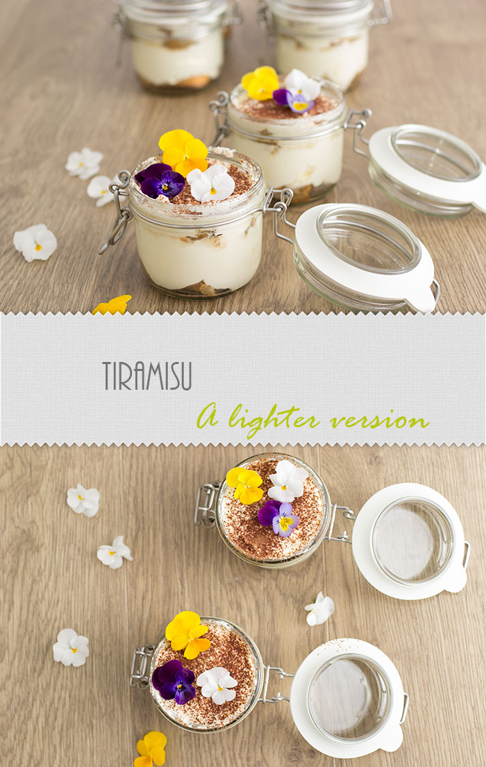 A lighter version of Tiramisu with whipping cream and light mascarpone. The recipe is also low in sugar, very easy to make and delicious.