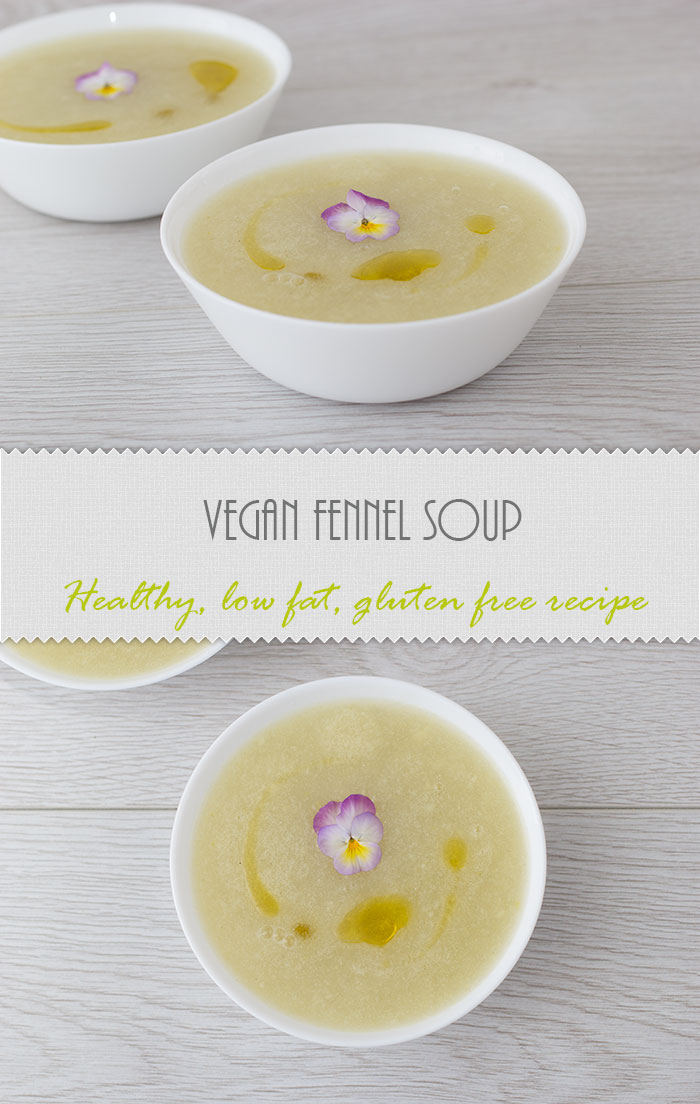 White vegan Fennel Soup with only a few ingredients, low in fat and calories and ready in only 15 minutes. The soup is naturally gluten free.
