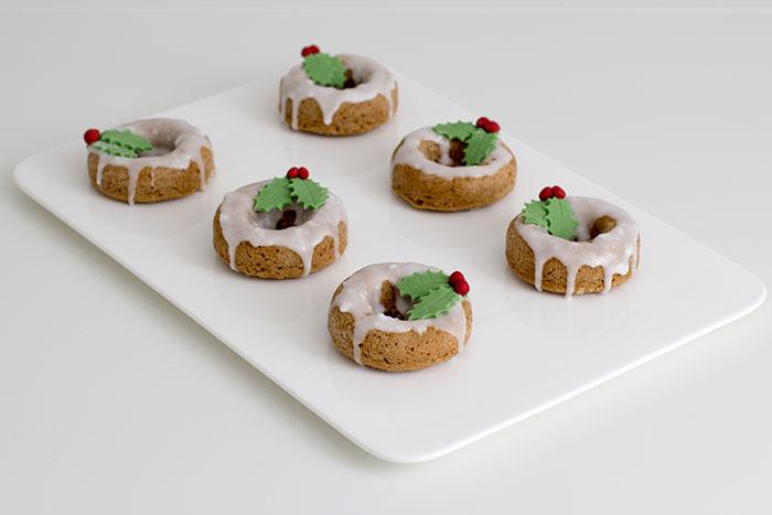 Festive wreath doughnuts