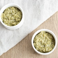 Matcha rice pudding