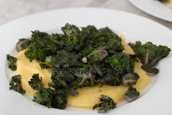 Kalettes with polenta