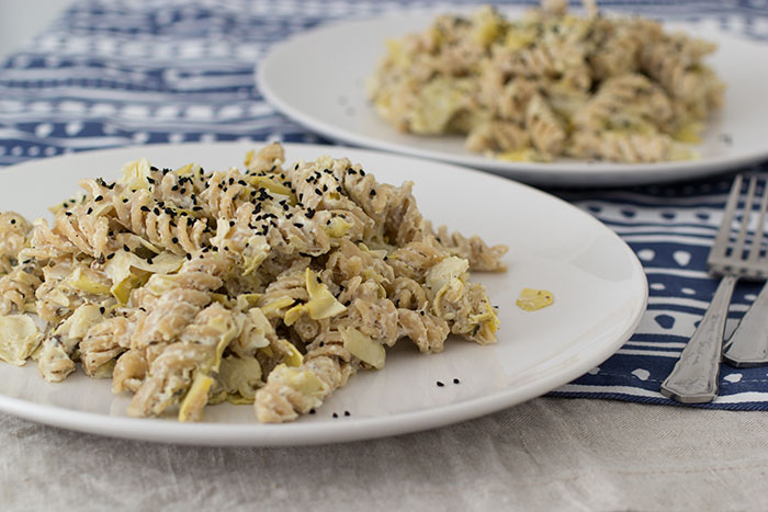 Pasta with artichoke.