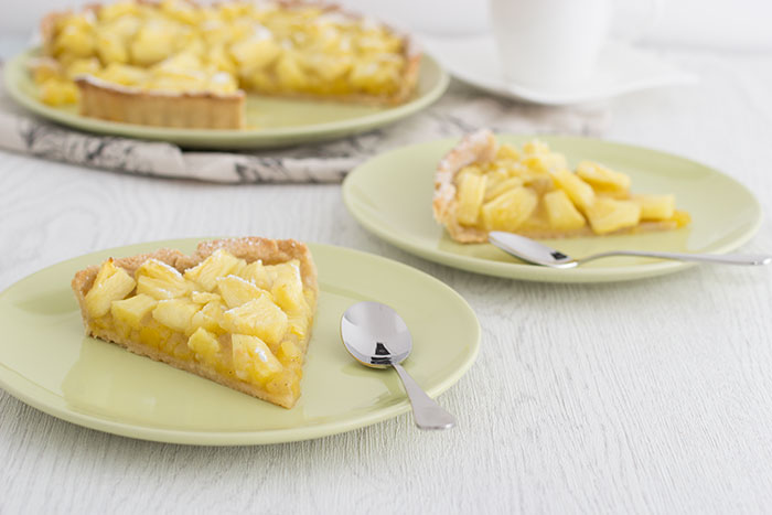 Pineappale and cardamom tart