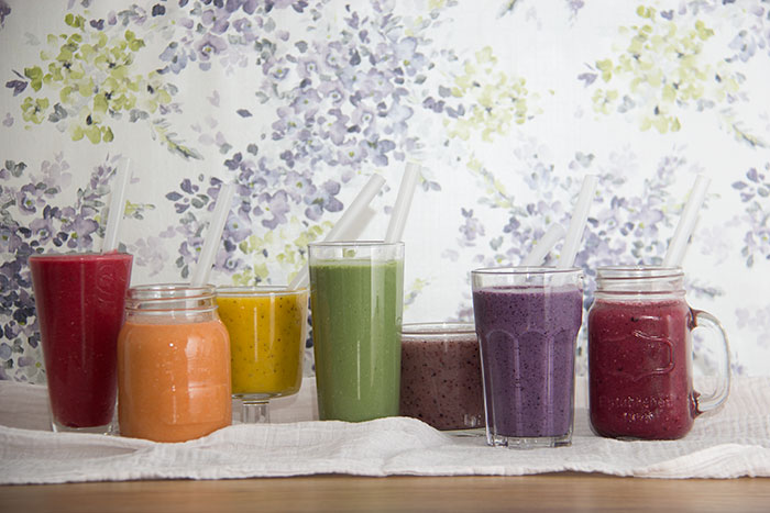 Rainbow of smoothies