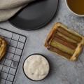 Rhubarb puff pastry tart with quark cream