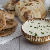 Homemade Flatbread with Tzatziki sauce