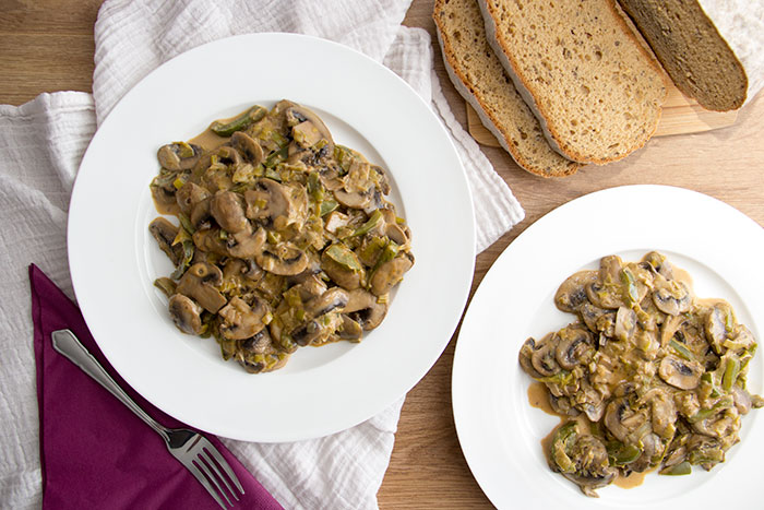 Mushroom stroganoff with hidden veggies. A healthy option for lunch and an easy recipe to make