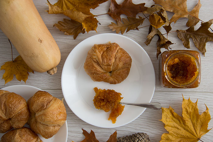 Cinnamon Squash Jam with croissants