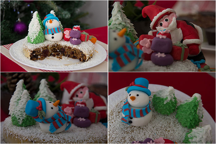 Christmas cake details of fondant figurines