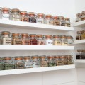 my spices. shelves filled with spices