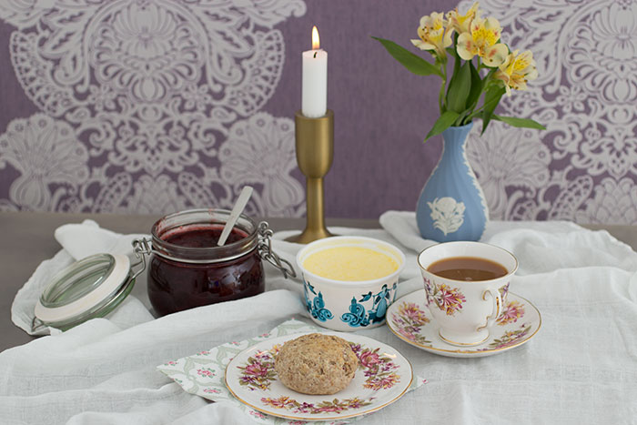 Strawberry Wholemeal Scones with tea