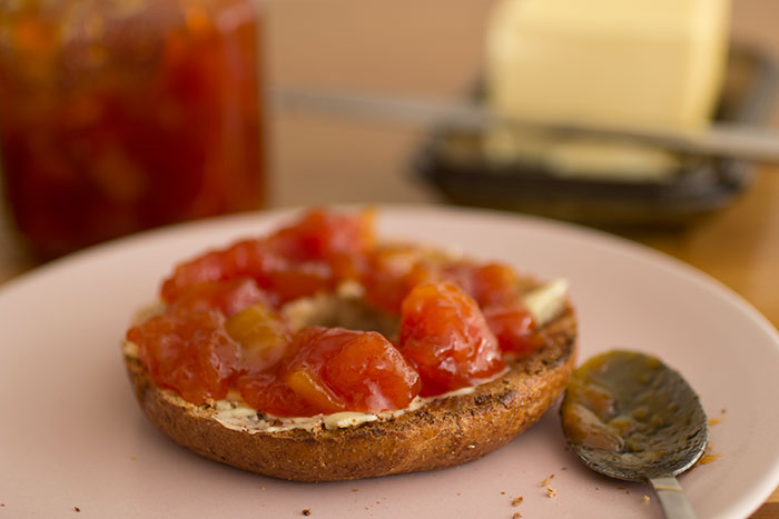 Papaya Jam on Buttered Bagel