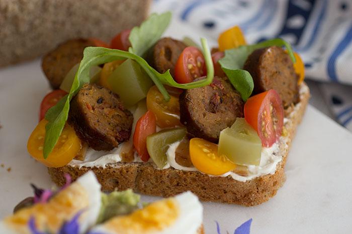 vegetarian Smørrebrød with sausages