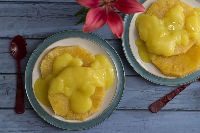 Baked Pineapple with Custard
