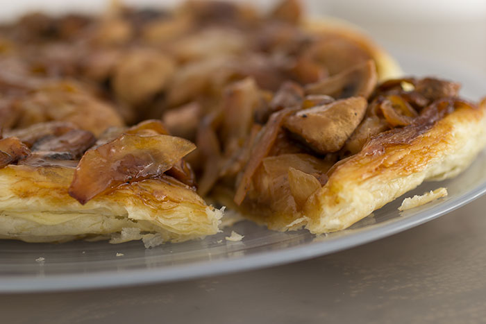 Mushrooms and Onions Tarte Tatin, close up