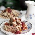 Plum Crumble with Mulled Wine Custard