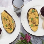 Aubergines Stuffed with Houmous