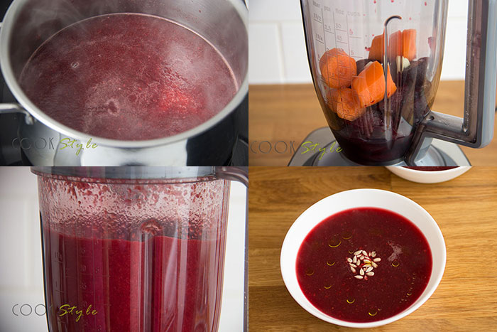 Beetroot and garlic soup. 4 steps