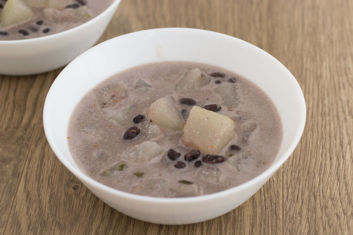 Vegan winter melon curry with coconut milk and black beans