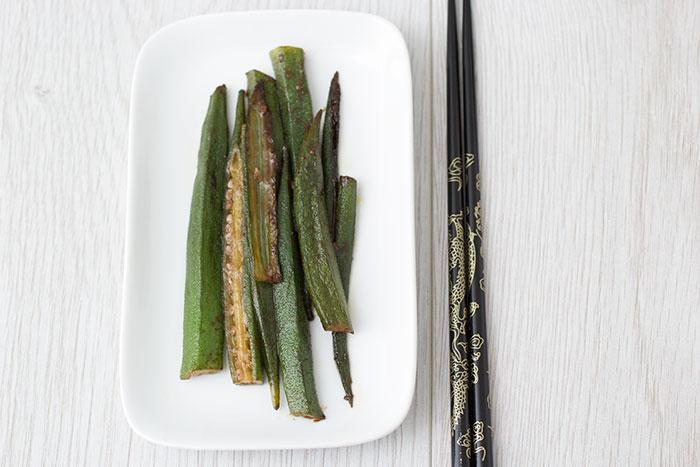 Okra with miso glaze