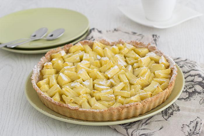 Pineappale and cardamom tart