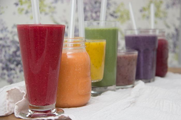 Rainbow of smoothies