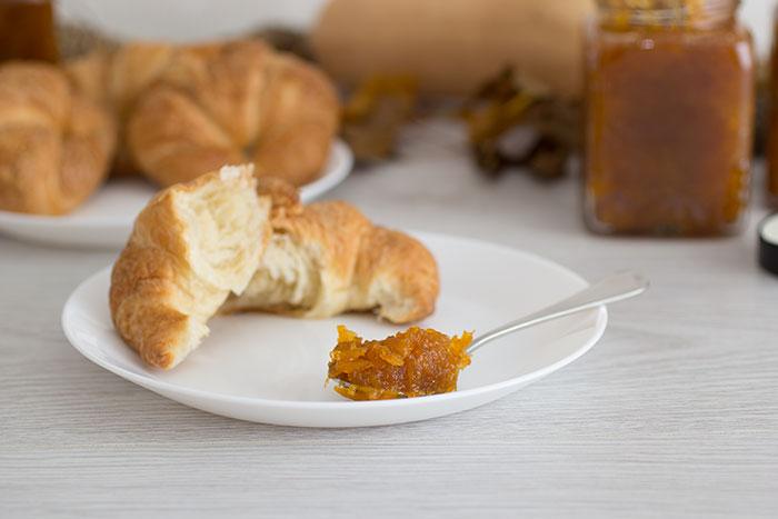 Cinnamon Squash Jam with croissants. Detail on the jam