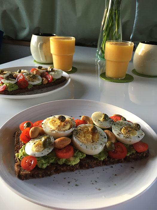 Caravan Cooking. Smørrebrød with eggs