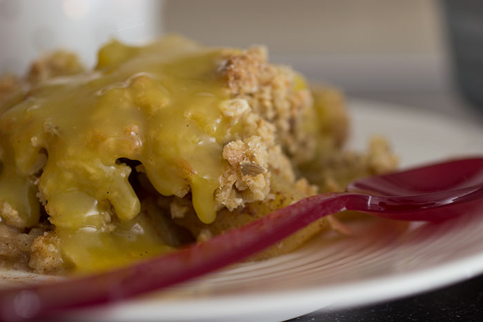 Apple and Pineapple Crumble. Close up
