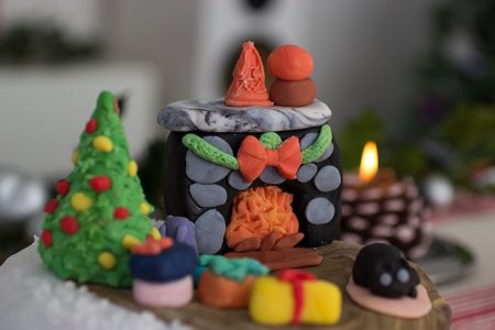 Christmas Cake. Details of decorations
