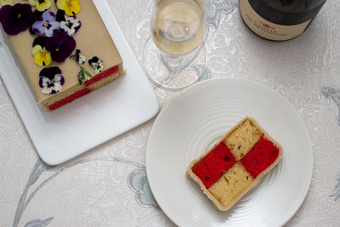 Strawberries and Champagne Battenberg. Slice
