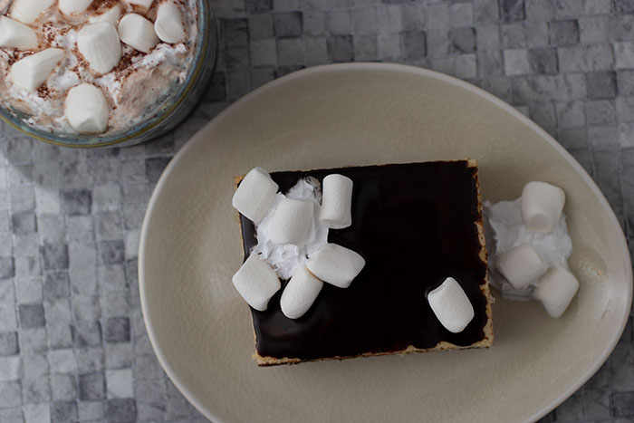 Hot Chocolate Custard Slice. Seen from above