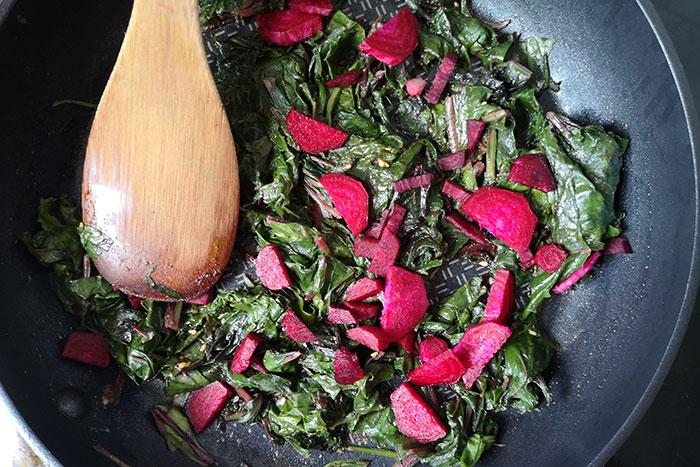 Beetroot leaves stir-fry